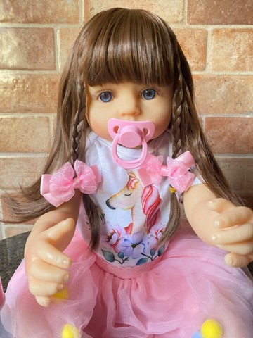 Linda Bebê Reborn Cabelão toda em Silicone realista Nova Original (Aceito Cartão)  - Foto 6