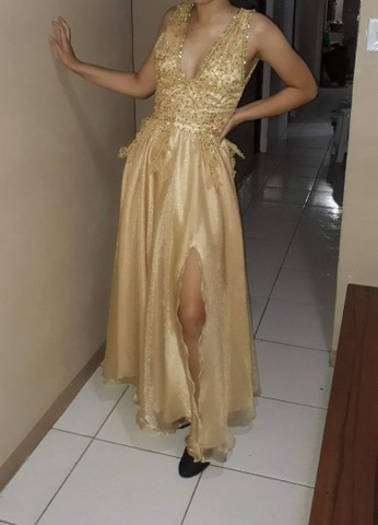Vestido formatura/festas dourado brilhoso - Foto 5