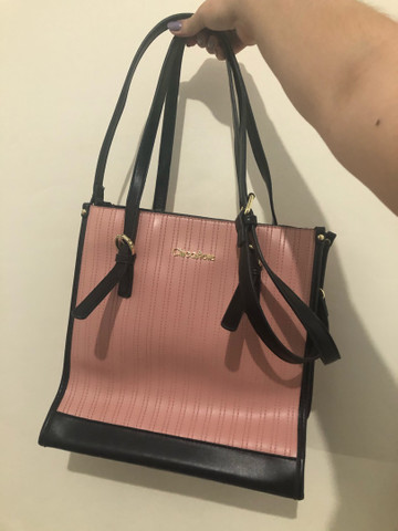 Bolsa rosa e preta chicafiore