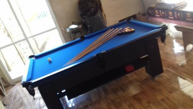 Mesa Quatro Pés Cor Preta Tecido Azul Mod. WNAL5532 - Foto 2