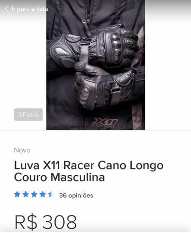 Luva de couro X11 motoqueiro - Foto 2