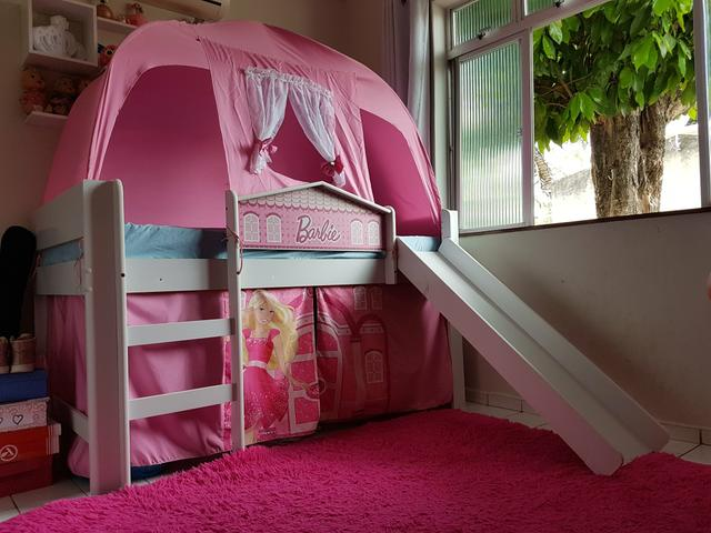 Cama infantil (completa) com escada, escorregador e barraca - Foto 2