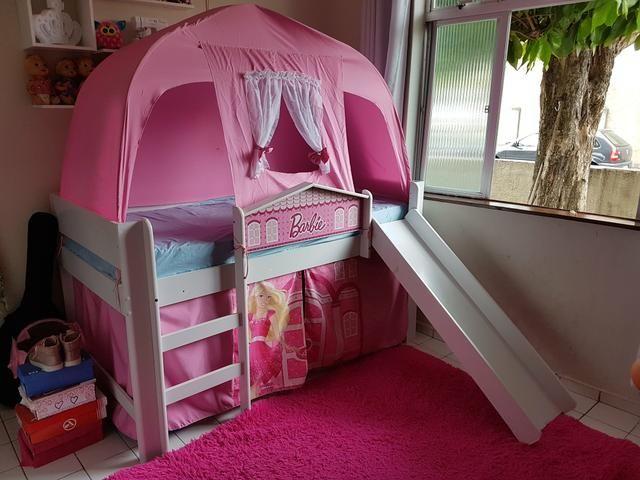 Cama infantil (completa) com escada, escorregador e barraca