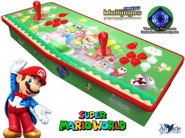 Arcade Fliperama Multijogos Retro 2 Players Tema: Super Mario World Com 7050 Jogos