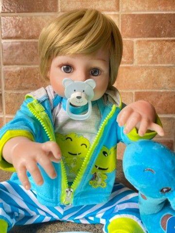 Bebê Reborn Menino todo em silicone loiro Novo (aceito cartão ) - Foto 4