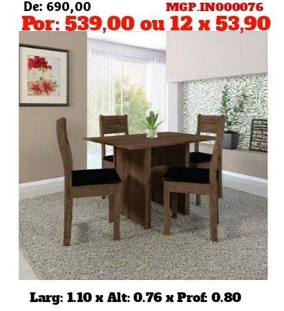 Conjunto de Mesa de 4 Cadeira- Mesa de Jantar - Liquida em MS