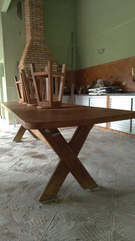 Mesa grande de madeira mogno - Foto 3