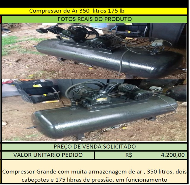 Compressor de Ar 350 litros 175 lb - Foto 2