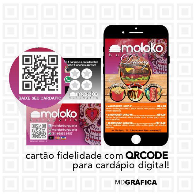 Cartão Fidelidade com QRcode para Cardápio Digital