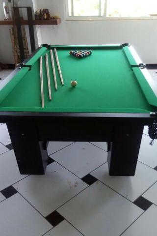Mesa de Sinuca e Bilhar Cor Preta Tecido Verde Mod. LCEH3520