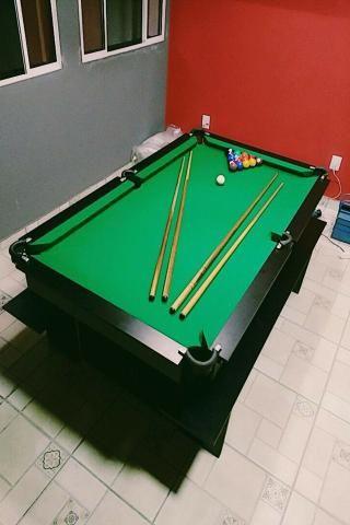 Mesa de Sinuca e Bilhar Cor Preta Tecido Verde Mod. LCEH3520 - Foto 3