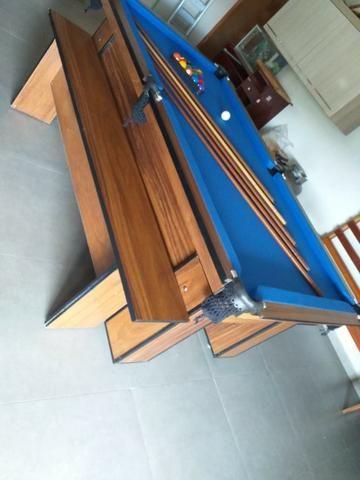 Mesa com 4 Pés Cor Imbuia Tecido Azul Mod. XBMU7106 - Foto 3
