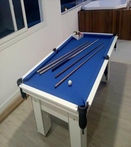 Mesa de Bilhar Cor Branca Tecido Azul Mod. HUJP1780