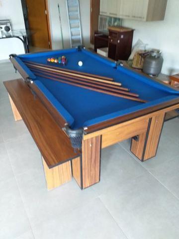 Mesa com 4 Pés Cor Imbuia Tecido Azul Mod. XBMU7106 - Foto 2