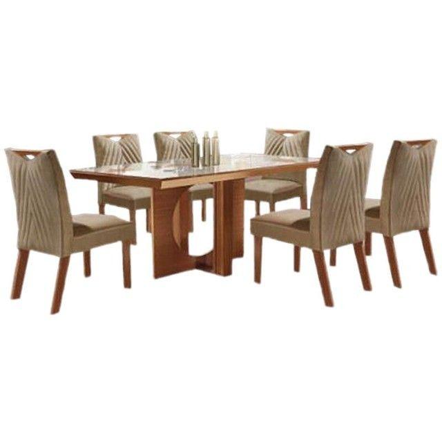 Mesa de Jantar Frisa 6 Cadeiras Castanho Premium 100% MDF