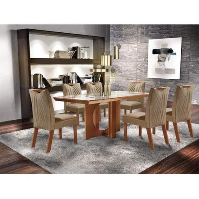 Mesa de Jantar Frisa 6 Cadeiras Castanho Premium 100% MDF - Foto 2