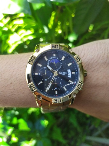 Relógio Masculino NiBOSi Dourado - Foto 6