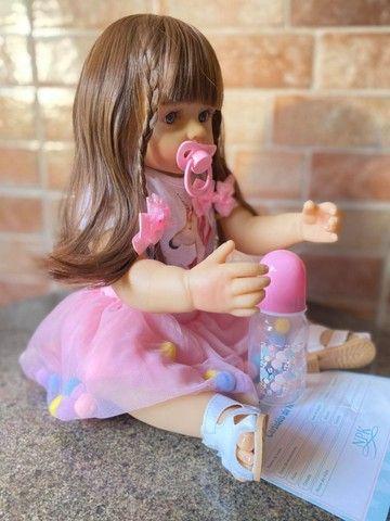 Linda Bebê Reborn Cabelão toda em Silicone realista Nova Original (Aceito Cartão)  - Foto 3