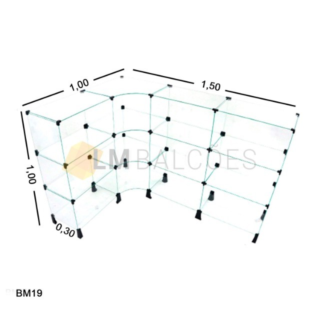 Balcão Atendimento Em Vidro Temperado Em L 1,50 X 1,00 X 0,30