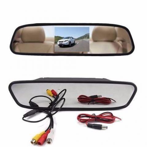 Kit estacionamento Espelho Retrovisor Monitor Tela Lcd 4.3 + Câmera Ré Carro Van Escolar - Foto 2