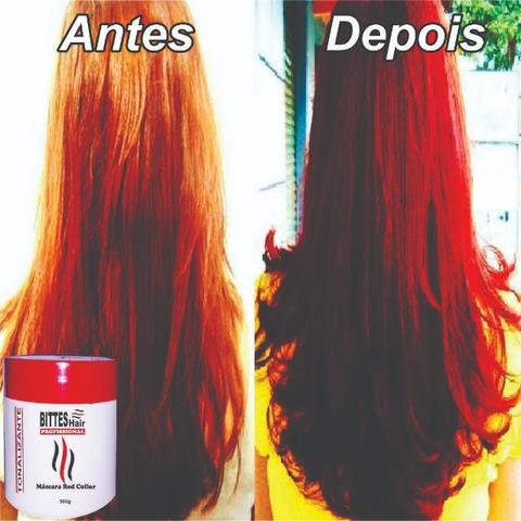 3 Máscara Color Red Vermelha Bittes Hair 500g - Foto 4