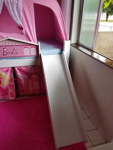 Cama infantil (completa) com escada, escorregador e barraca - Foto 5