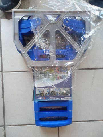 Carrinho Para Carga Retrátil Alumínio Alça Preta Emborrachada 80kg Dobrável - Foto 4