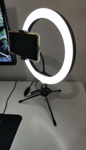 Ring Light 26cm/10 Polegadas + Tripé De Mesa + Suporte Celular - Foto 3