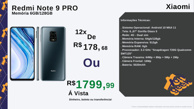 Redmi Note 9 Pro 128gb e 6gb de RAM | Versão global | Lacrado com garantia - Foto 4