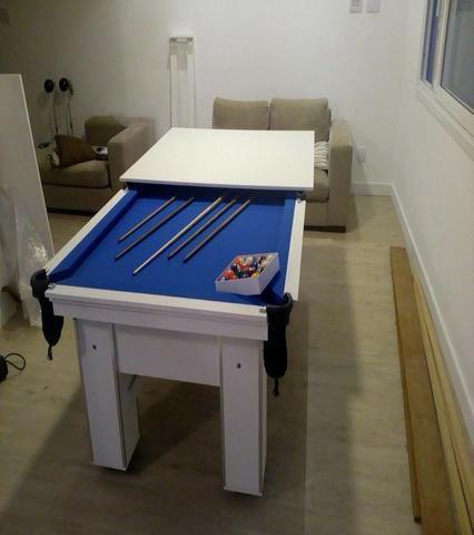 Mesa de Bilhar Cor Branca Tecido Azul Mod. HUJP1780 - Foto 2