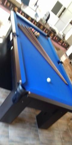 Mesa Quatro Pés Cor Preta Tecido Azul Mod. WNAL5532 - Foto 3
