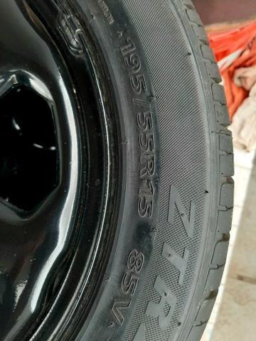 4 Pneus 195/55r15 e rodas de ferro da eco esporte