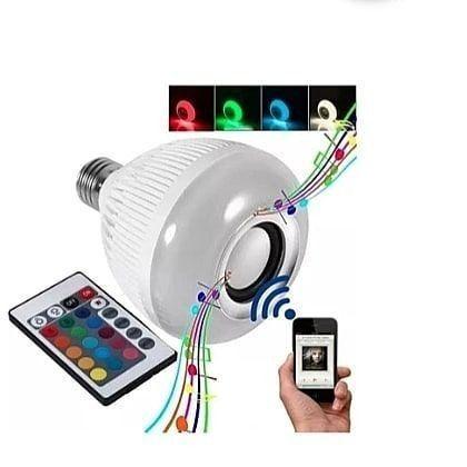 Lâmpada e caixinha de som Bluetooth