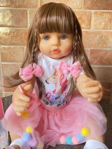 Linda Bebê Reborn Cabelão toda em Silicone realista Nova Original (Aceito Cartão)  - Foto 5