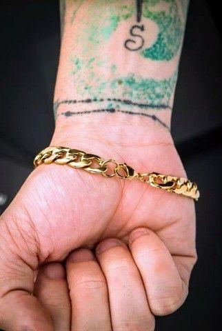 Pulseira bracelete Pai nosso banhado a ouro - Foto 2