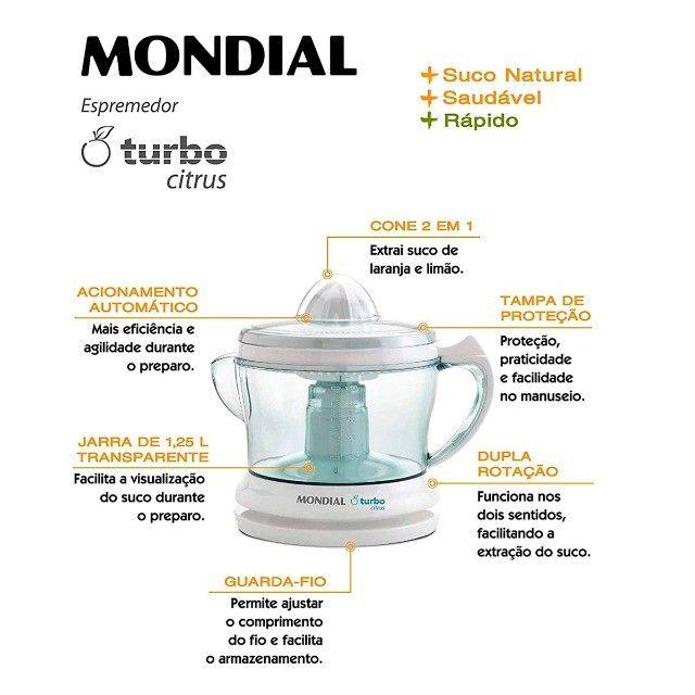 Espremedor de Laranja Turbo Citrus 220V Mondial - Foto 5