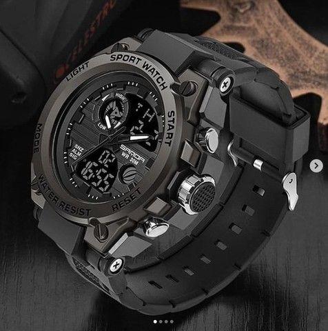Relógio Luxo Militar Sanda a prova D'água