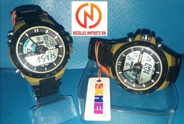 Relógio skmei original preto à prova d'água 50mt