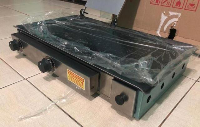 Promoção: Chapa a gás Lanche 70x40cm aço indústrial Cachorro quente hambúrguer espetinho - Foto 2