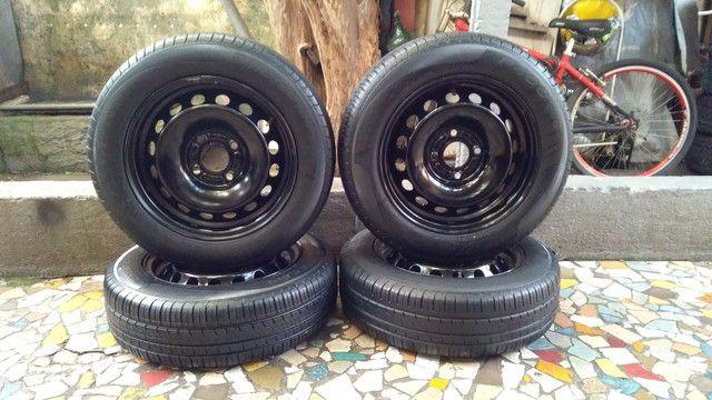 Jogo de rodas de ferro aro 14/4 furos originais Ford Ka Ford Fiesta e outros - Foto 4