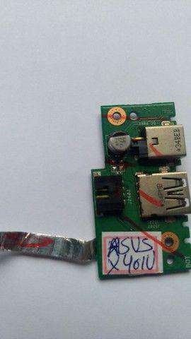 Conector Placa Dc Power Jack Usb Asus X401u - 120 - Foto 3