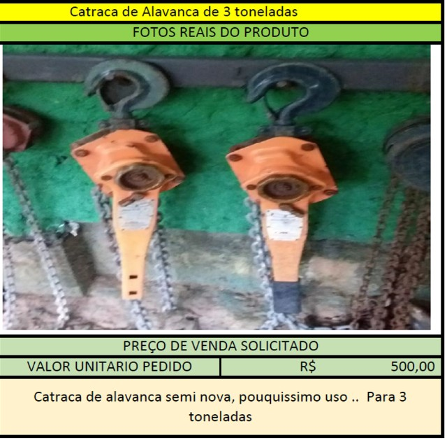 Catraca de Alavanca 3 Toneladas - 2 unidades disponiveis - Foto 2