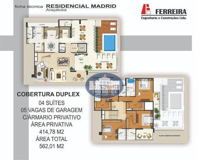 Cobertura Duplex - 4 suítes à venda, 414 m² por R$ 2.100.000 - Vila Santa Maria - Araçatub