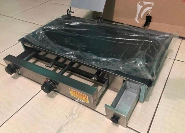Promoção: Chapa a gás Lanche 70x40cm aço indústrial Cachorro quente hambúrguer espetinho