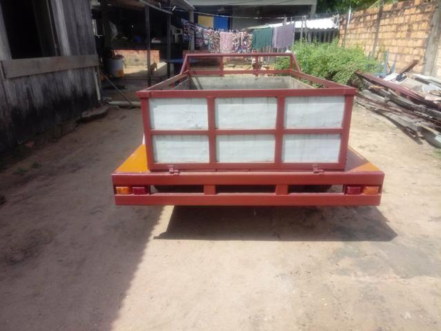 Vendo esta carrocinha e aceito roçadeira à gasolina no negócio - Foto 2