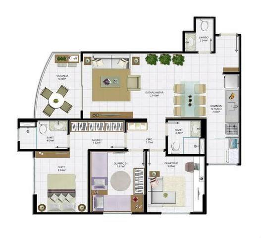 Apartamento 3/4 com lavabo - Villa Privilege - Foto 9