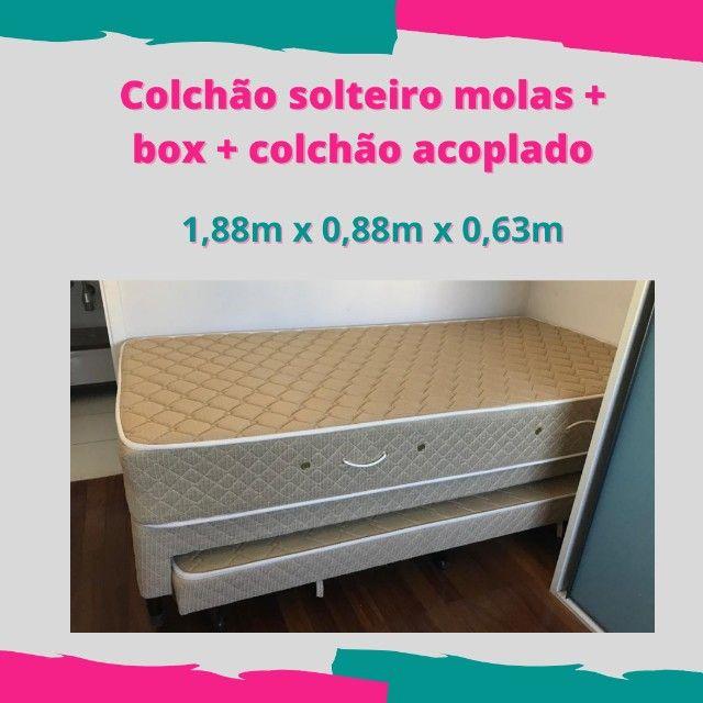 Colchão Castor molas de solteiro + cama box + colchão acoplado - pouco uso