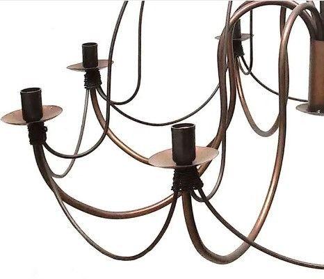 Lustre De Ferro para Sala Artesanal Rústica Colonial Envelhecido com 8 Bocais - Foto 3