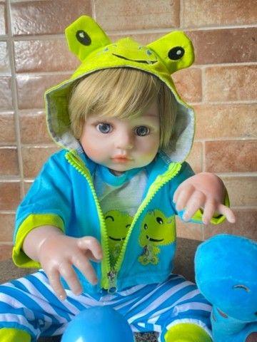 Bebê Reborn Menino todo em silicone loiro Novo (aceito cartão ) - Foto 6
