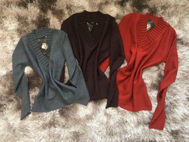 Blusões gola V - Inverno 2021 - Foto 2